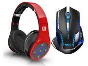 E-Blue Mazer II AVAGO chip 2500 DPI Blue LED 2.4GHz Wireless Optical Pro Gaming Mouse+Bluedio R+ 8 Sound Tracks Bluetooth 4.0 Circumaural Gaming Headset(Support NFC/AptX,Hi-Fi,Built in Micro-SD card)