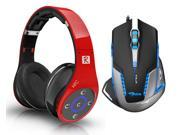 E-Blue Mazer II 2500 DPI Blue LED Optical USB Wired Gaming Mouse+Bluedio R+ 8 Sound Tracks Bluetooth 4.0 Circumaural Wireless Gaming Headset(Support NFC/AptX,Hi-Fi,Built in Micro-SD card)