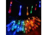 20 LED Solar Crystal Water Drop Christmas Lights /AGPTEK® Solar Powered Fairy String Lights,Decorative String Lights for Outdoor, Patio,Gardens, Homes, Wedding, Christmas Party 15.75 Feet , Multicolor