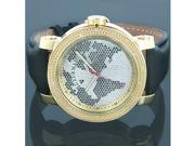 Luxurman Watches Worldface Mens VS Diamond Watch .18ct