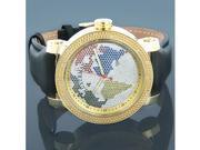 Luxurman Watches World Map Mens VS Diamond Watch .18ct