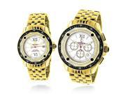 Matching His and Hers Watches: Yellow Gold Plated Diamond Watch Set 1.05ct