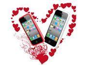 [CASE4U] iPhone-4S/ 4G White + Red Bumper Crystal Case Combo (Screen Protector + Anti-dsut casp + Wrap + Candy earphone)