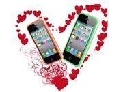 [CASE4U] iPhone-4S/ 4G Green + Orange Bumper Crystal Case Combo (Screen Protector + Anti-dsut casp + Wrap + Candy earphone)