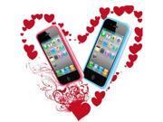 [CASE4U] iPhone-4S/ 4G Blue + Pink Bumper Crystal Case Combo (Screen Protector + Anti-dsut casp + Wrap + Candy earphone)