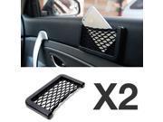 Black Car Net Bag Phone Holder Storage Pocket Organizer [2PK] [Also great for wallet, keys, pens, and MORE!]