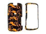 Motorola Clutch i465 Hard Plastic Case  - Brown Floral Swirls on Black