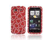 HTC Sensation 4g Bling Plastic Case - Silver Hearts On Red Gems
