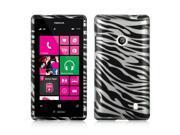 Slim & Protective Hard Case for Nokia Lumia 521 - Silver / Black Zebra