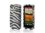 Black/ Silver Zebra Bling Hard Plastic Case Snap On Cover For HTC One VX