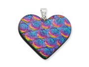 Dichroic Glass Heart Pendant in Sterling Silver