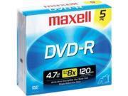 Maxell DVD-R 5PK 4.7GB DVD-R, 5 Pack