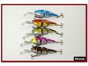 "Akuna Pack of 5 Wobblin Goblin 3.5"" Bass Trout Pike Fishing Lure Swimbait Tackle B"