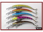 "Akuna Pack of 5 Hypnotizer 5.9"" Deep Diving Pike Bass Fishing Lure Bait B"
