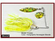 Akuna Invader Willow/Colorado Holographic Twin Blades Spinnerbait, various sizes and colors