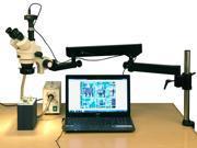 3.5X-180X Fiber Ring Articulating Zoom Stereo Microscope + 5MP Digital Camera