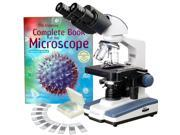2500X Lab LED Binocular Compound Microscope w 3D-Stage 25 biology Slides & Book
