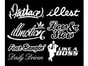 iJDMTOY JDM Stance illest illmotion Fatlace Low & Slow FourBangin Like A Boss Daily Driven Combo Deal Stickers Decals SET