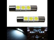 (2) Xenon White 3-SMD 6641 LED Bulbs For Car Vanity Mirror Lights Sun Visor Lamp