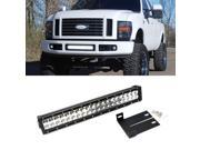 """iJDMTOY 20"""""""" 120W High Power Double-Row LED Light Bar w/ Lower Bumper Grille Mount Brackets & Wiring Harness For 2008-2010 2nd Gen Ford F-250 F-350 F-450 Super D"""" 9SIA0WW6MT0177"""