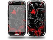 Twisted Garden Gray and Red - Decal Style Skin (fits Samsung Galaxy S III S3)