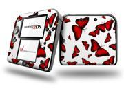 Butterflies Red Decal Style Vinyl Skin fits Nintendo 2DS