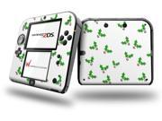 Christmas Holly Leaves on White Decal Style Vinyl Skin fits Nintendo 2DS