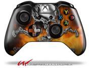 Chrome Skull on Fire - Decal Style Skin fits Microsoft XBOX One Wireless Controller - CONTROLLER NOT INCLUDED