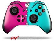 Ripped Colors Hot Pink Neon Teal Decal Style Skin fits Microsoft XBOX One Wireless Controller CONTROLLER NOT INCLUDED