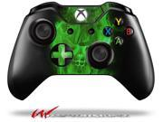 Flaming Fire Skull Green Decal Style Skin fits Microsoft XBOX One Wireless Controller CONTROLLER NOT INCLUDED