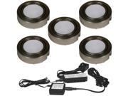 Five LED Puck Lights 13W 3000K Complete System Nickel