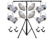 4 Silver PAR CAN 64 1000w PAR64 MFL O-Clamps 9ft Stand