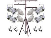 4 Silver PAR CAN 64 1000w PAR64 WFL O-Clamp 9ft Stand