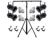 4 Black PAR CAN 46 200w PAR46 NSP O-Clamp 9ft Stand