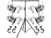 4 Silver Short PAR CAN 38 120w BR40 Flood C-Clamp Stand
