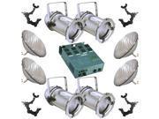 4 Silver PAR CAN 56 300w PAR56 NSP Dimmer O-Clamp