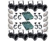 8 Black PAR CAN 56 300w PAR56 MFL 2 Dimmer C-Clamps