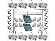 8 Silver PAR CAN 56 500w PAR56 WFL Dimmer O-Clamp Truss 2805