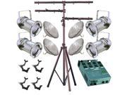 4 Silver PAR CAN 56 300w PAR56 WFL Dimmer O-Clamp Stand 2245