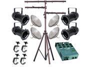 4 Black PAR CAN 56 300w PAR56 WFL Dimmer C-Clamp Stand 2262