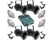 4 Black PARCAN 56 500w PAR56 MFL Dimmer O-Clamp