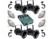 4 Black PAR CAN 56 300w PAR56 MFL Dimmer C Clamp