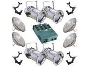 4 Silver PARCAN 56 500w PAR56 WFL Dimmer O-Clamp