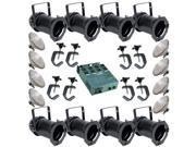 8 Black PAR CAN 46 200w PAR46 MFL Dimmer C-Clamps