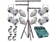 4 Silver PAR CAN 64 500w PAR64 WFL C Clamp Stand Dimmer 1265