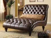 Dark Chocolate PU Leather Chaise  by Acme Furniture