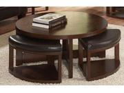 Round Cocktail Table with 4 Ottomans of Brussel Ii Collection by Homelegance