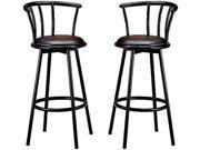"Black Metal Swivel 29"" Barstools, Set of 2 by Coaster Furniture"
