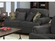 Traditional Love Seat with Rolled Arms and Throw Pillows in Gray by Coaster