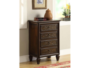 Dark Brown Transitional 4 Drawer Bombay Chest by Monarch